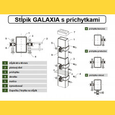 Stĺpik GALAXIA 60x40x1,50x1800 s pätkou / ZN+PVC7016