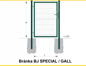 Gate BJ SPECIAL 2000x1000 / GALL / ZN+PVC6005
