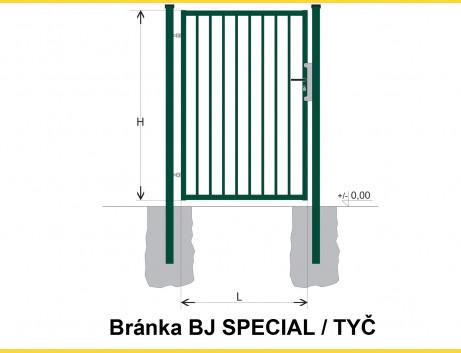 Brána BJ SPECIAL 2000x1000 / TYČ / ZN+PVC6005