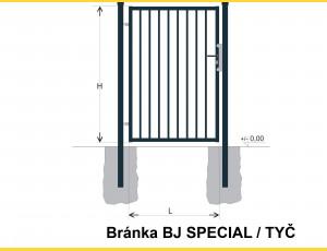 Gate BJ SPECIAL 1300x1000 / TYČ / ZN+PVC7016