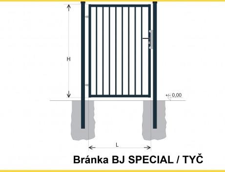 Brána BJ SPECIAL 1700x1000 / TYČ / ZN+PVC7016