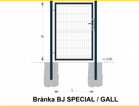 Brána BJ SPECIAL 1600x1000 / GALL / ZN+PVC7016