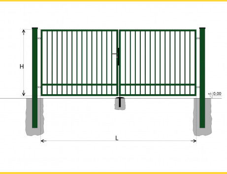 Brána BD SPECIAL 1300x3500 / TYČ / ZN+PVC6005