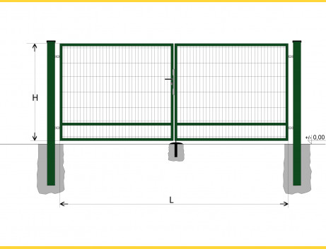 Brána BD SPECIAL 1500x4500 / DBL / ZN+PVC6005