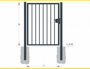Gate BJ SOLID 1800x1000 / TYČ / ZN+PVC7016