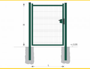 Gate BJ SOLID 2000x1000 / GAL / ZN+PVC6005