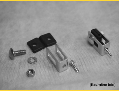 Príchytka U43 na panel / 4mm / ZN+PVC7016 / kompletná