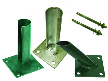 Base plates for posts and brace posts, fitting material